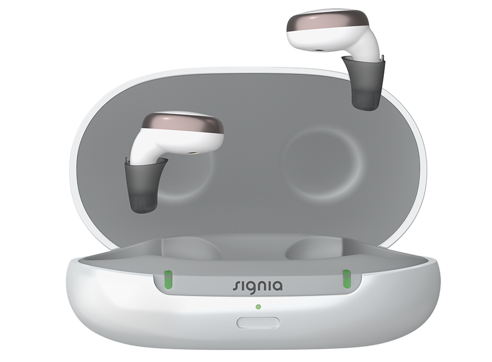 Signia Active Pro charging was with lid open and hearing aids partially removed