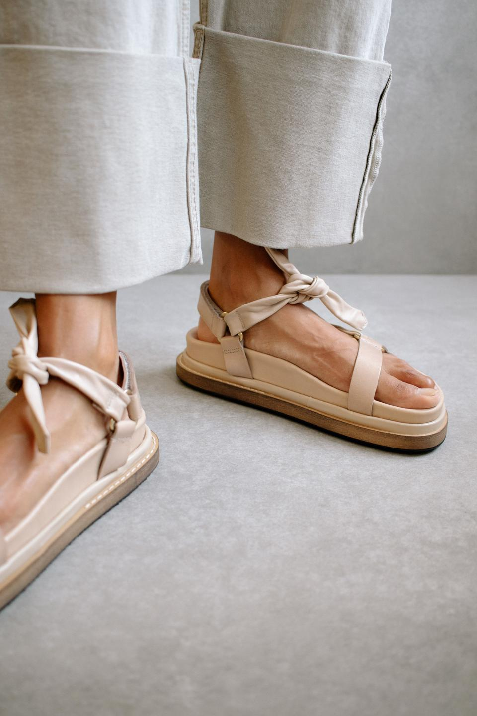 Tied Together sandal in stone and beige, by Alohas.