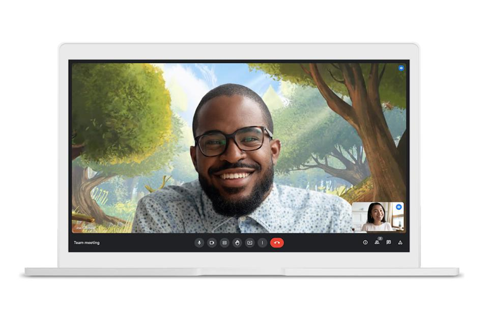 Google Meet with video background