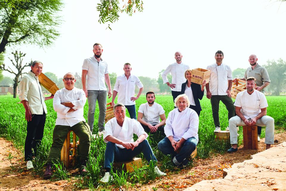 Krug's Julie Cavil and 11 international chefs at an onion farm in Jaipur, India.