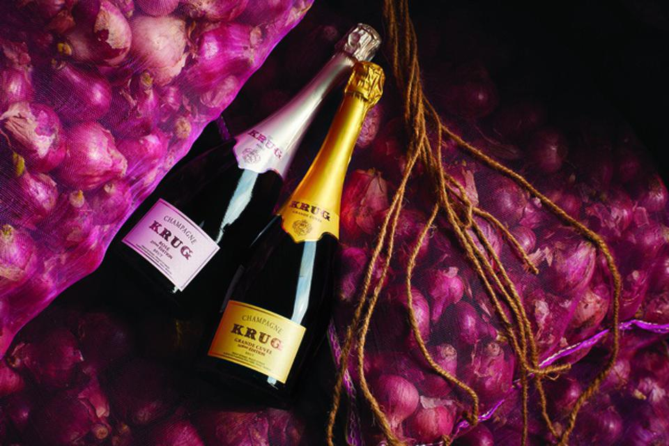 Two bottles of Krug Champagne with beautiful onions in Jaipur, India