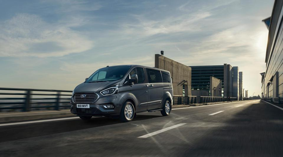 The Tourneo's electric-only range is 33 miles, and a 3-cylinder 1.0 litre 124 hp petrol engine is a range-extender, with a maximum of about 320 miles.