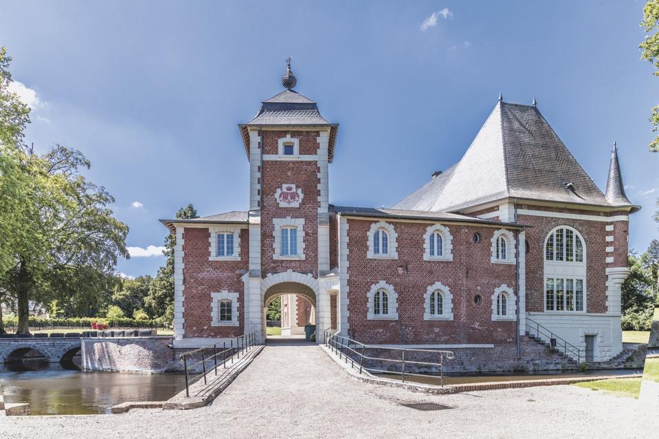 brick chateau with moat 59300 Valenciennes, Nord Pas de Calais, France