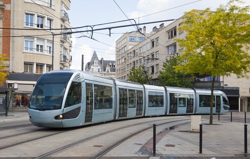 Modern tram in Valenciennes