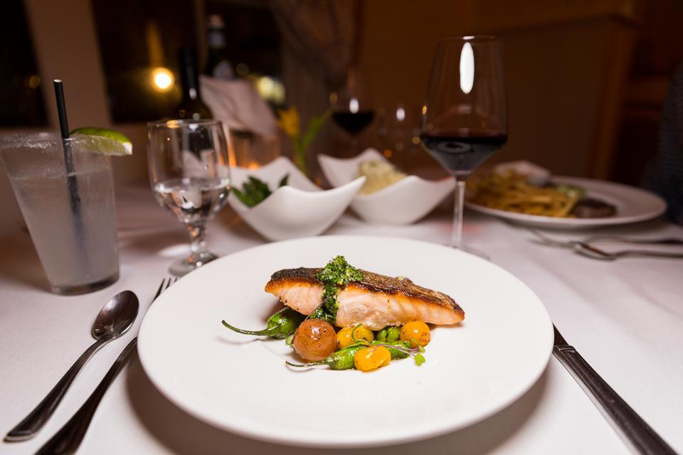 NEWPORT, RI - Seared Salmon at Viking Hotel Restaurant, One Bellevue