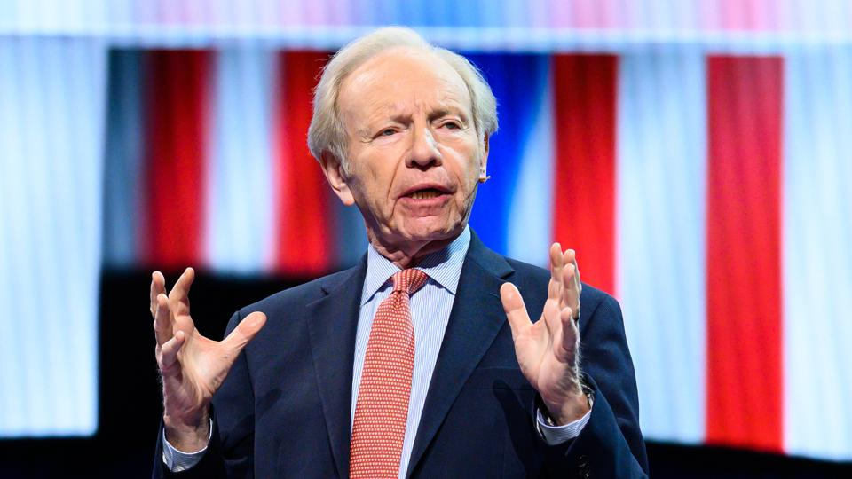 Former U.S. Senator Joe Lieberman (I-CT) seen speaking...