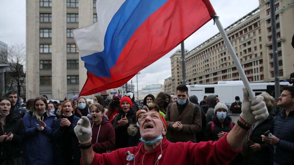 Unsanctioned Mass Protest Supporting Imprisoned Opposition Politician Alexey Navanly