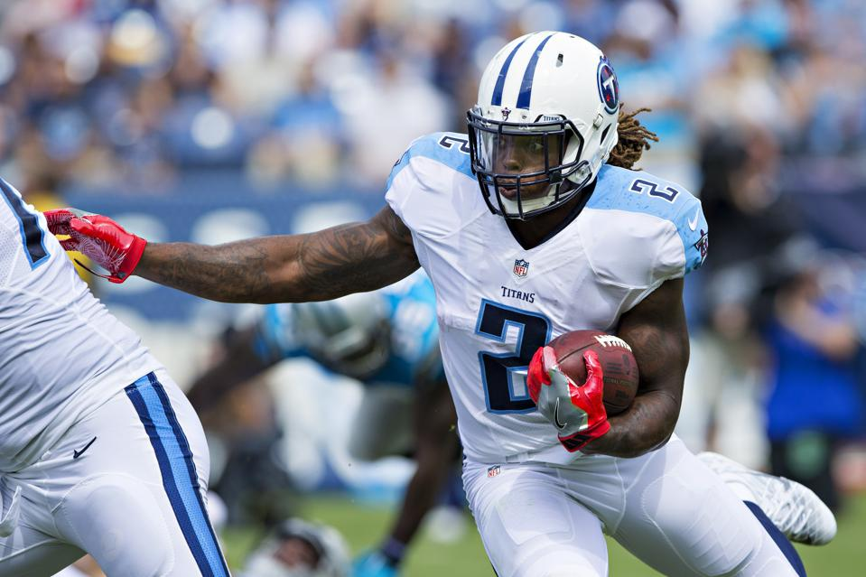 Tennessee Titans running back Derrick Henry wearing the number 2 during a preseason game