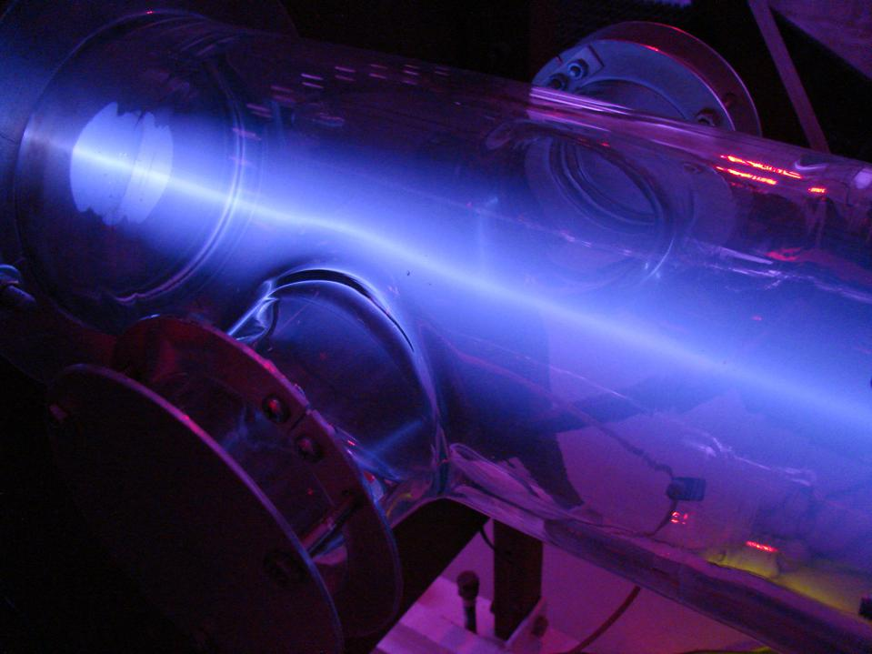 Beam of deuterium being accelerated into a target for neutron production.