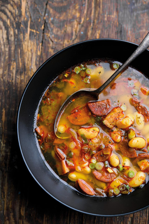 Spanish chorizo stew, ham and white beans.