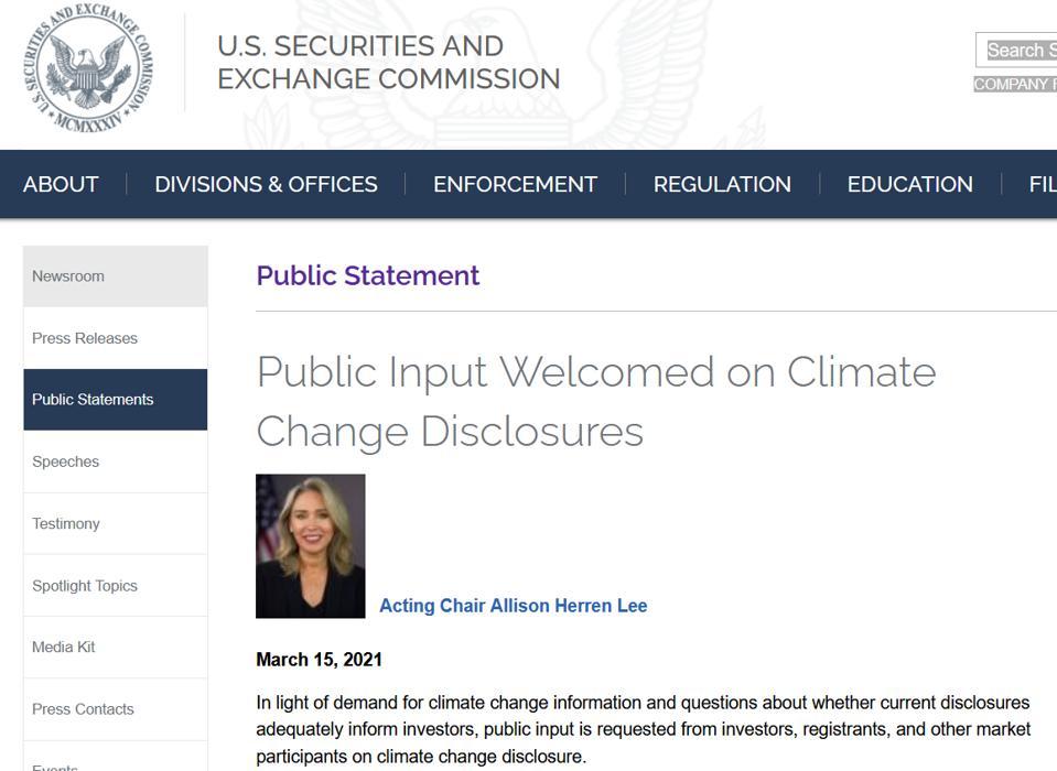 SEC seeks public comments on climate disclosure, sec.gov