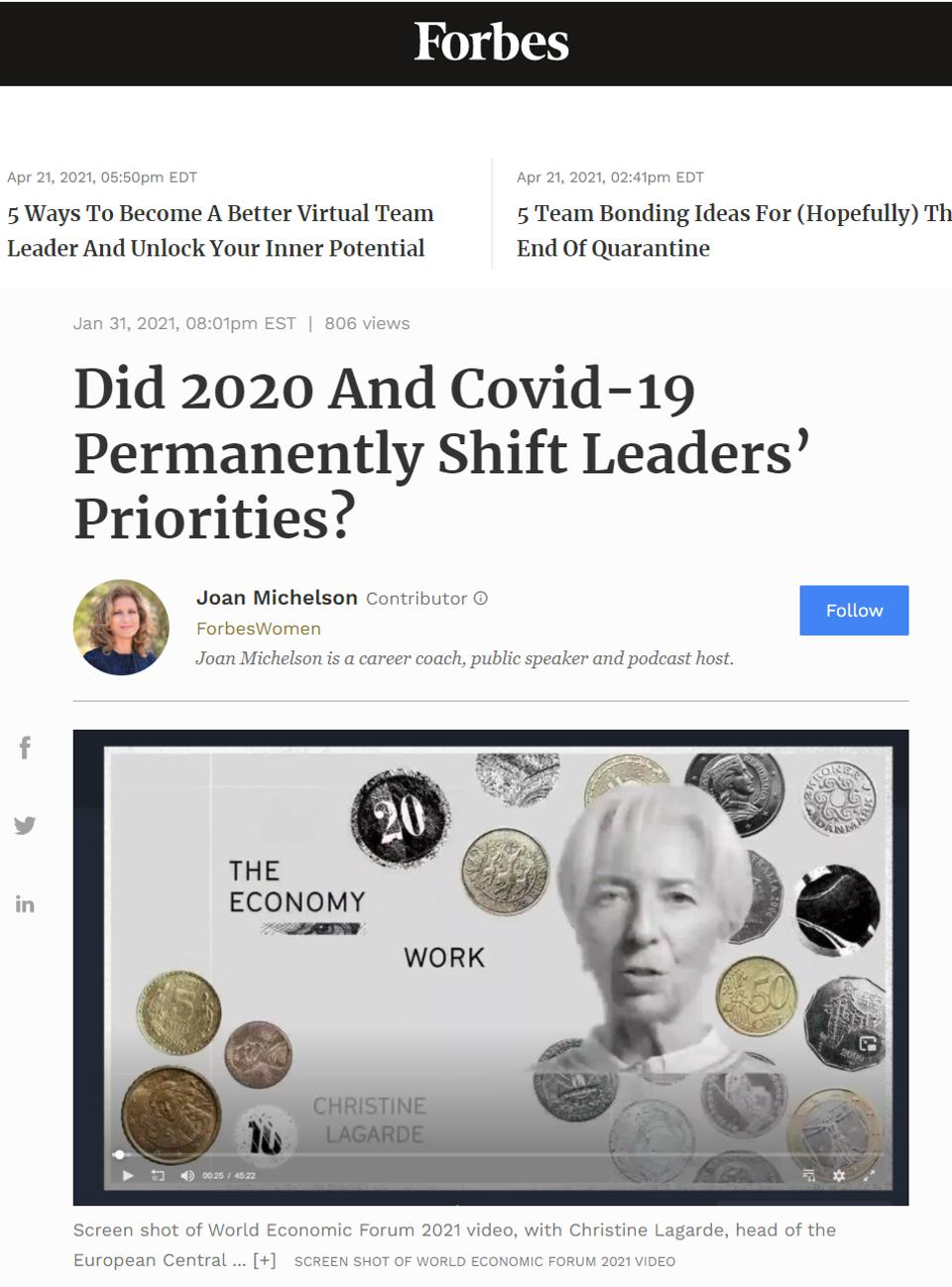 Joan Michelson article in Forbes on WEF 2021 priorities