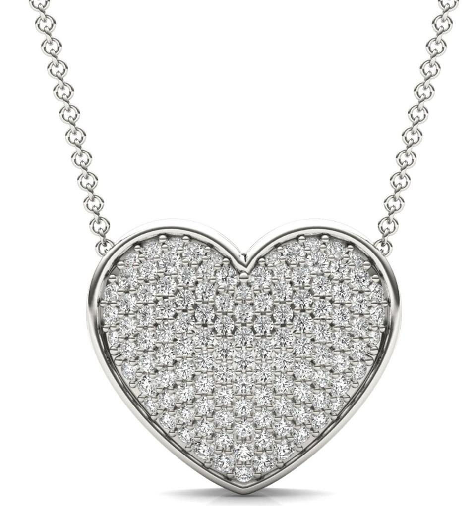 Charles & Colvard 7/8 CTW Caydia Lab Grown Diamond Signature Pave Heart Necklace 18K White gold