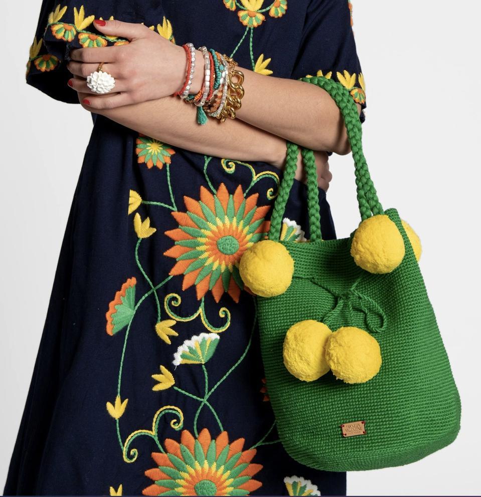 Frances Valentine handwoven Haley Bucket Bag