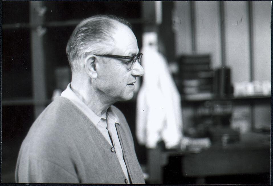 Frank Zamboni in his factory.