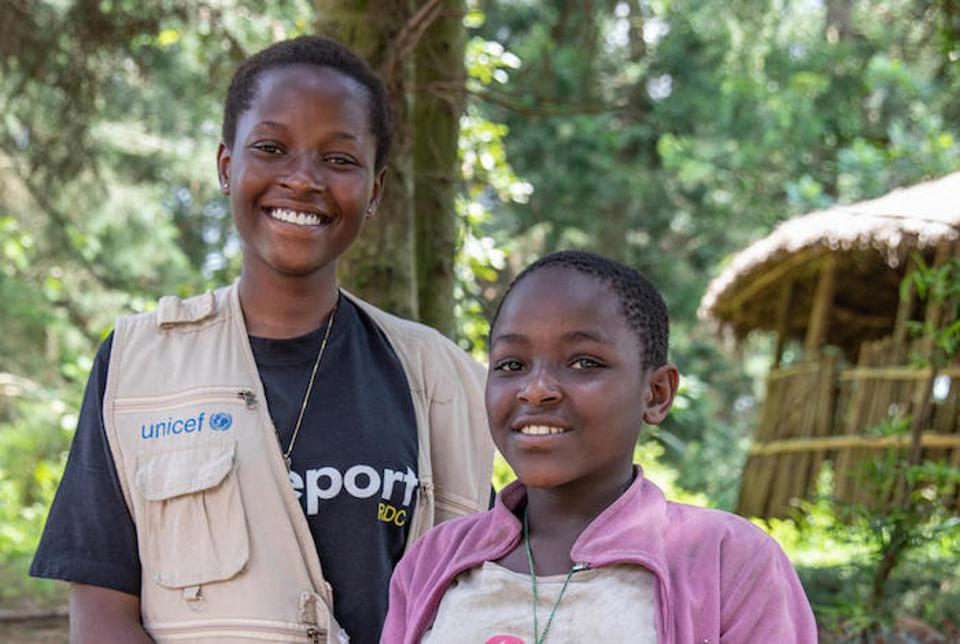 UNICEF youth reporter Ketsia, 16, interviewed Prisca, 12, about climate change and the envirohment in Buhumba, North Kivu province, DRC.