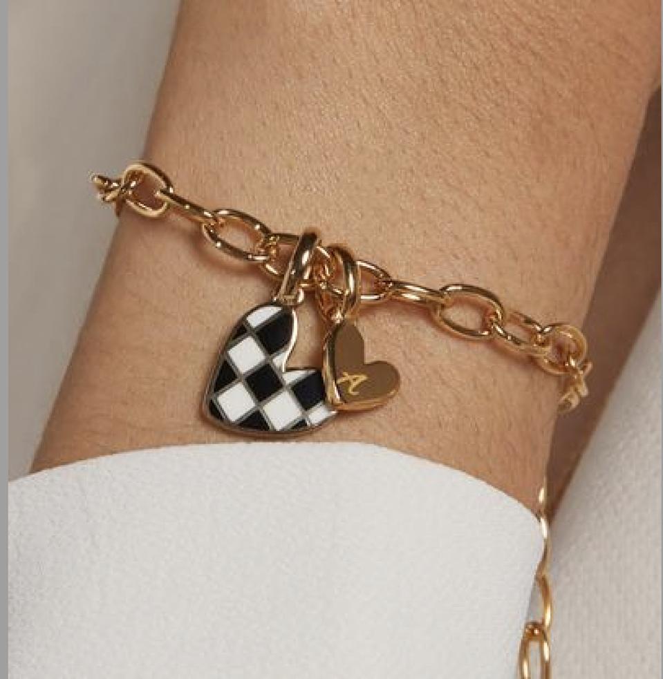 RELLERY Checker Heart Initial Bracelet