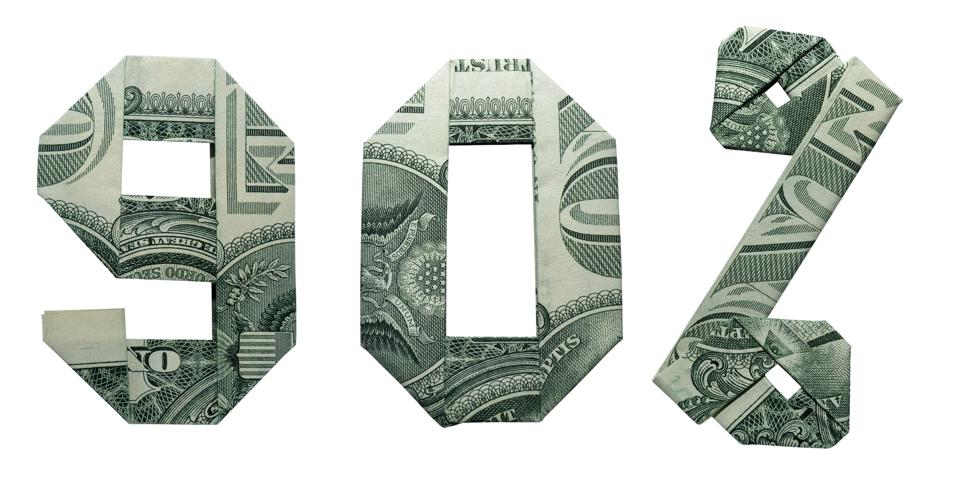 90 Percents Sale Sign Collage Money Origami Folded with 3 Real One Dollar Bills Isolated on White Background