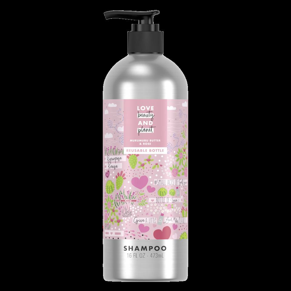 Love Beauty and Planet Murumuru Butter & Rose Shampoo In Reusable Pump Bottles