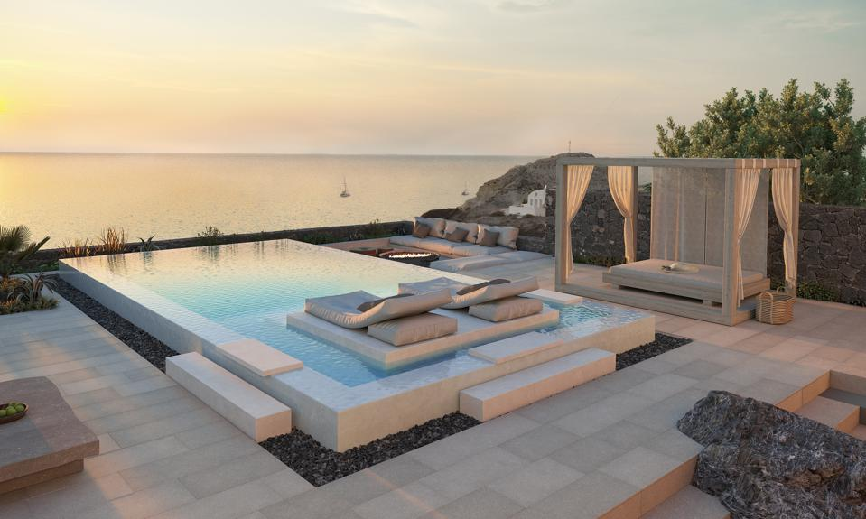 The suites at Canaves Oia Epitome in Santorini, Greece, have private pools above the sea