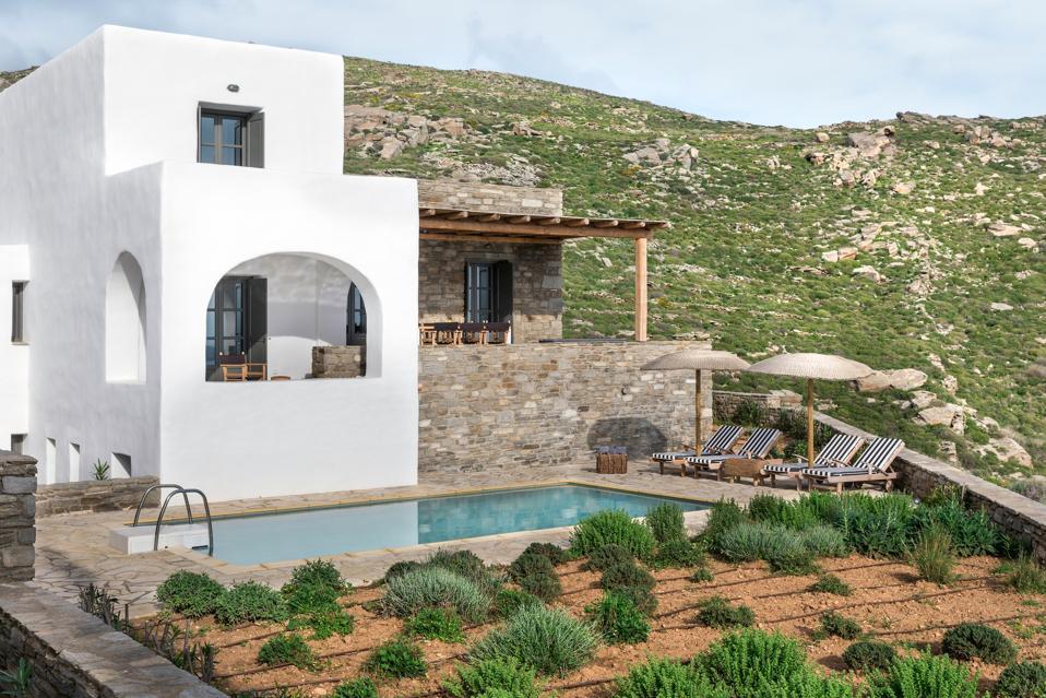 The villas at Acron Villas on Paros, Greece, have traditional Cycladic architecture