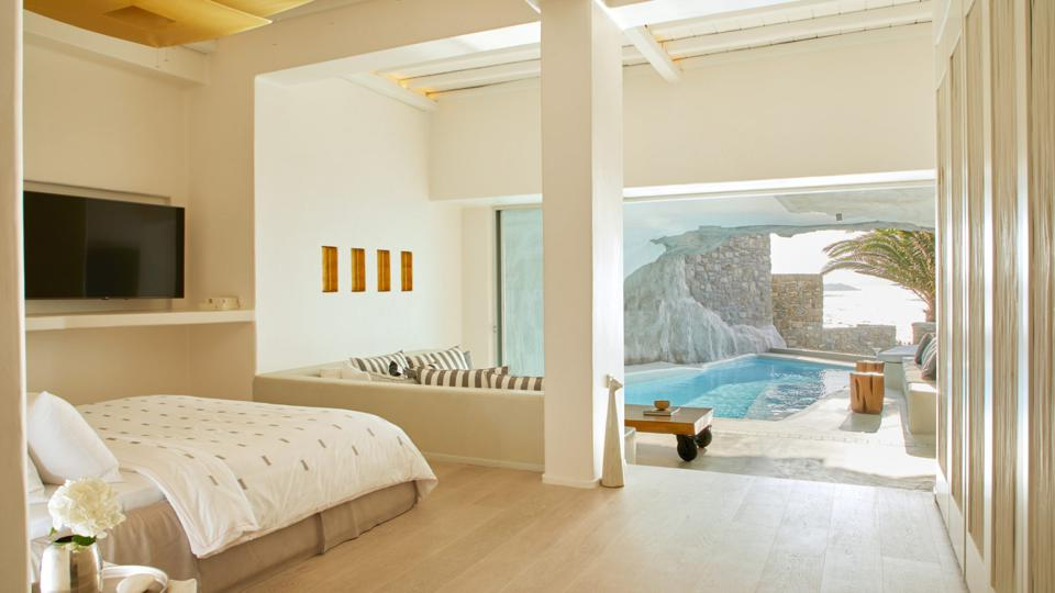 The rooms at Cavo Tagoo hotel on Mykonos, Greece, have pools or hot tubs
