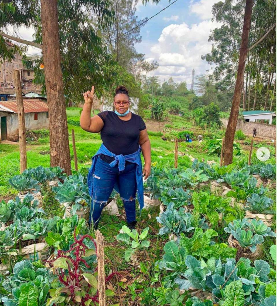 Woman gardening in Kibera Slums, Nairobi, Kenya.
