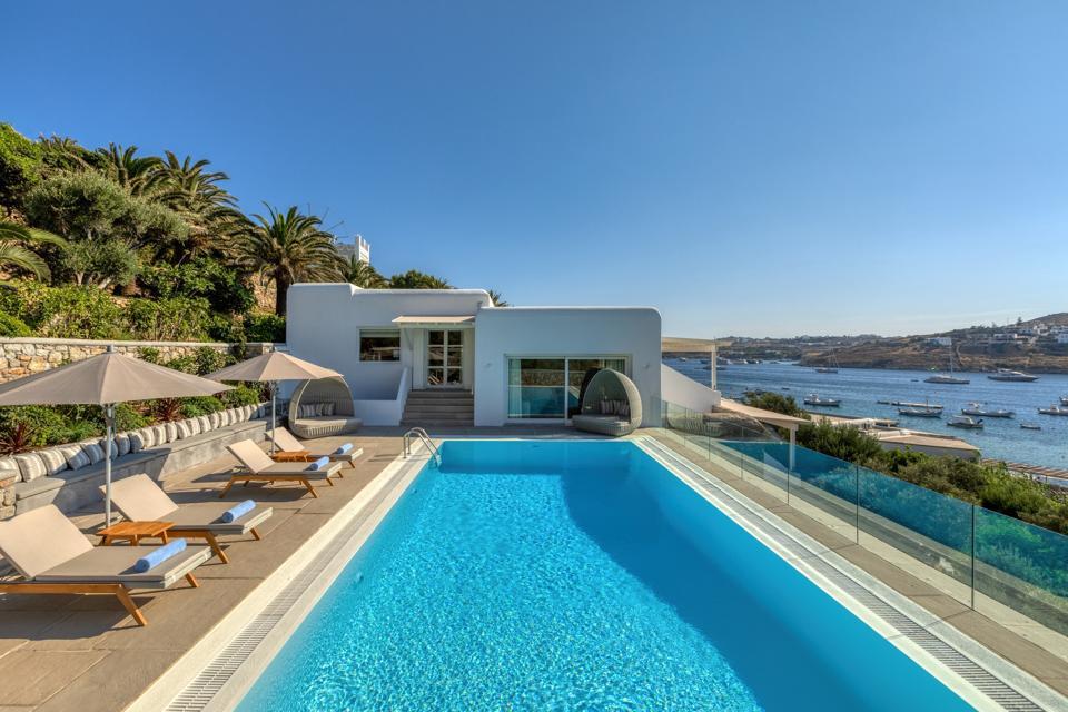 The pool is long and inviting at Santa Marina hotel on Mykonos, Greece