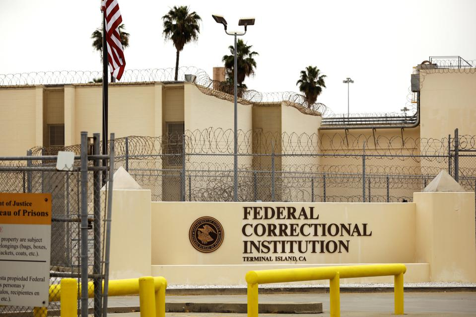 Federal Correctional Institution Terminal Island in San Pedro. Nearly half of the inmates at the federal prison at Terminal Island in San Pedro have tested positive for the coronavirus in what had has become the nation's worst outbreak in a federal penitentiary. (Christina House / Los Angeles Times via Getty Images)