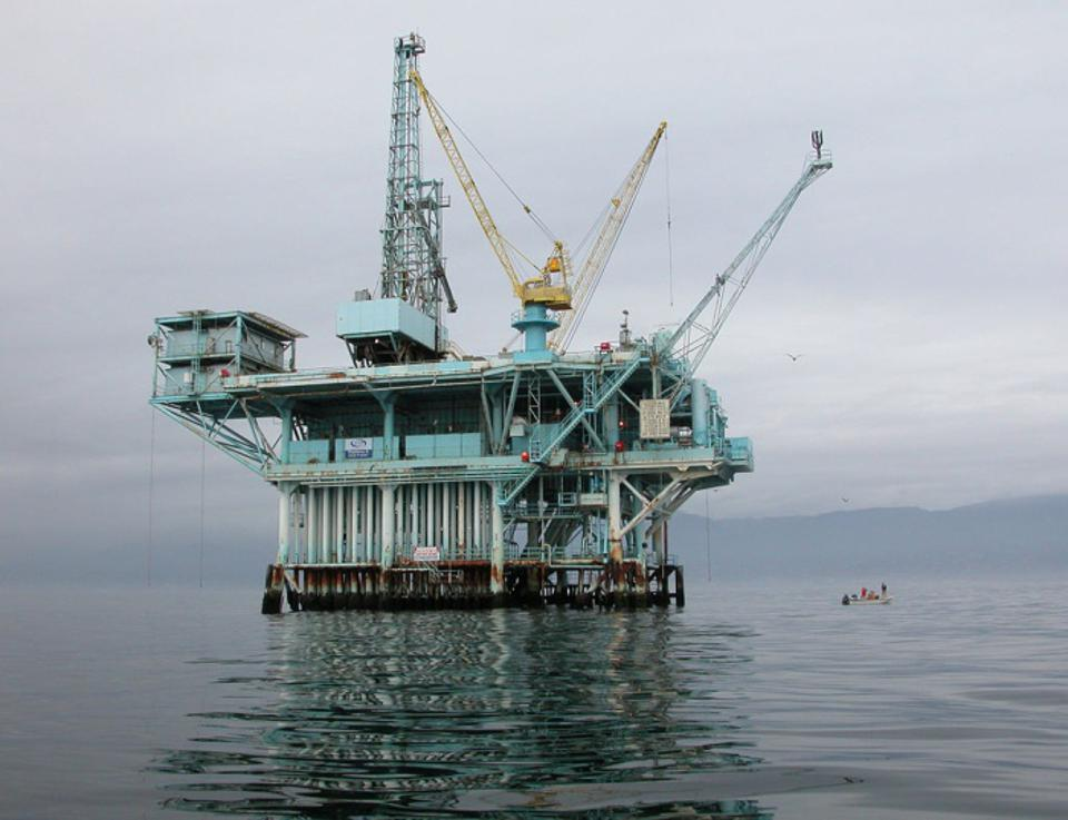 Union Oil's ″Platform A″ in the Dos Cuadras Offshore Oil Field blew out in the famous Santa Barbara Oil Spill of January-February 1969. It remains the largest oil spill to have occurred in the waters off California and inspired the creation of a national day of awareness - Earth Day today is observed in 192 countries.