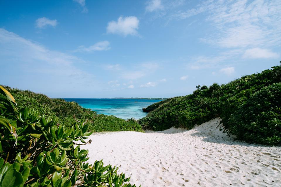 White sand tropical beach and clear blue water, Miyako Island, Okinawa, Japan