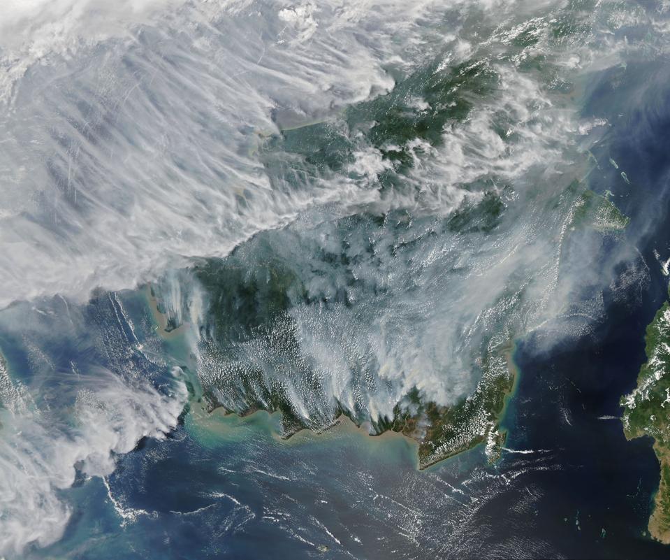 Indonesian wildfires via satellite (Credit: Joshua Stevens, NASA public domain)