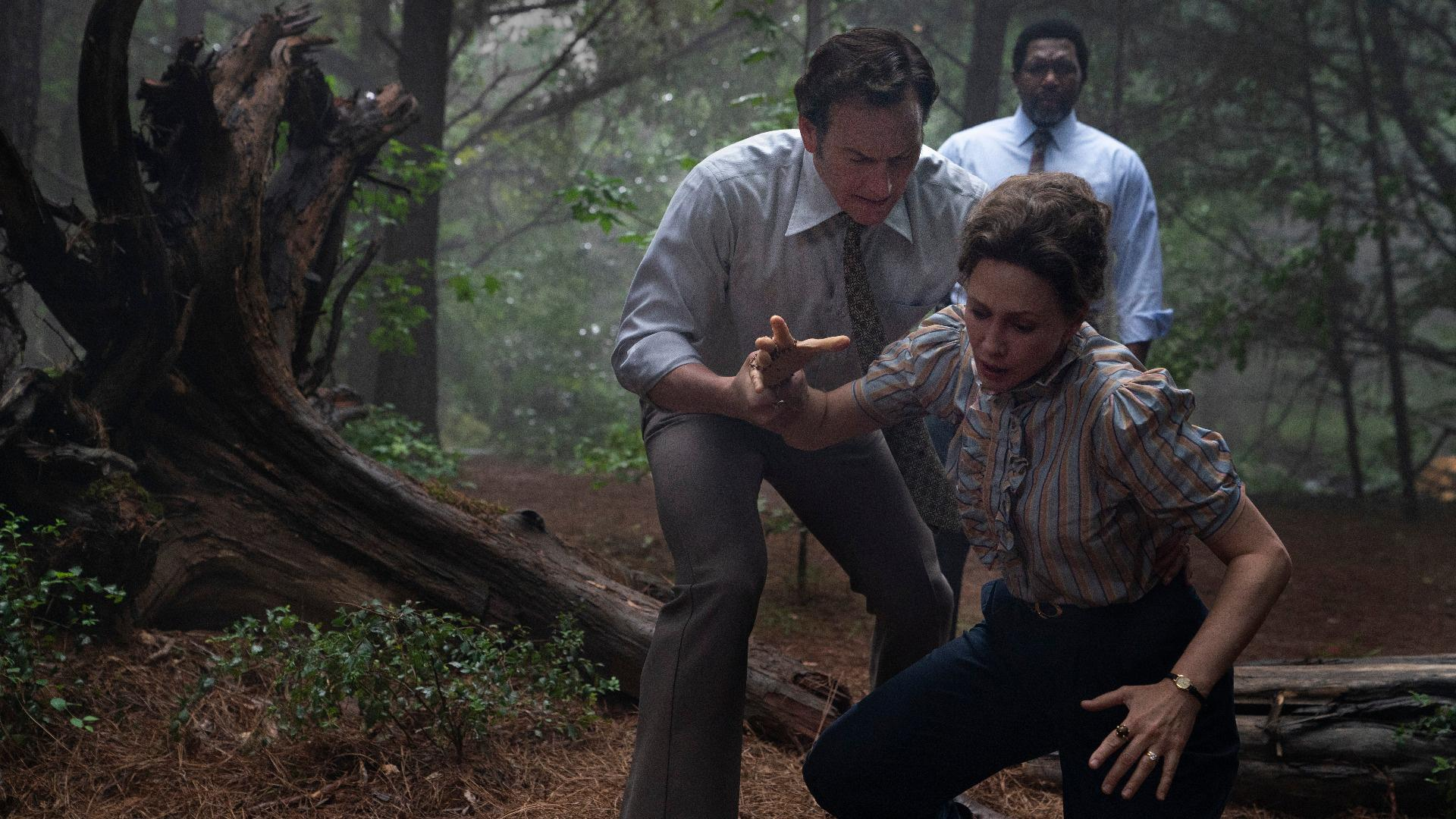 "VERA FARMIGA, PATRICK WILSON as Ed Warren and KEITH ARTHUR BOLDEN in ""THE CONJURING: THE DEVIL MADE ME DO IT,"""