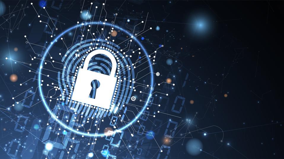 a digital lock over a virtual background