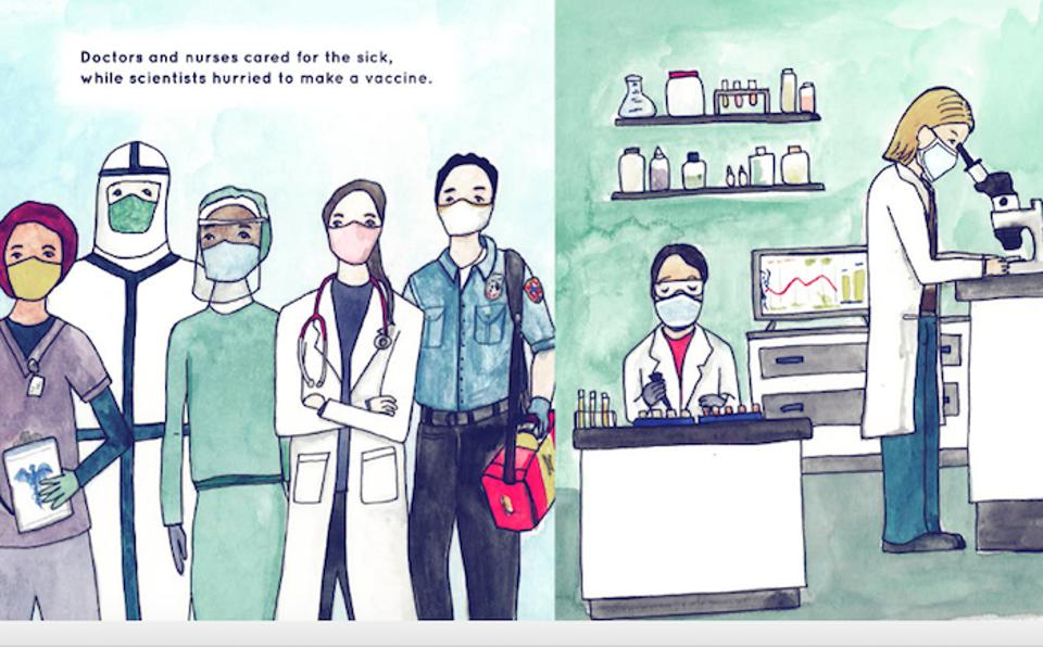 An illustration from a book for kids about coronavirus, showing health professionals and researchers working on vaccine development.