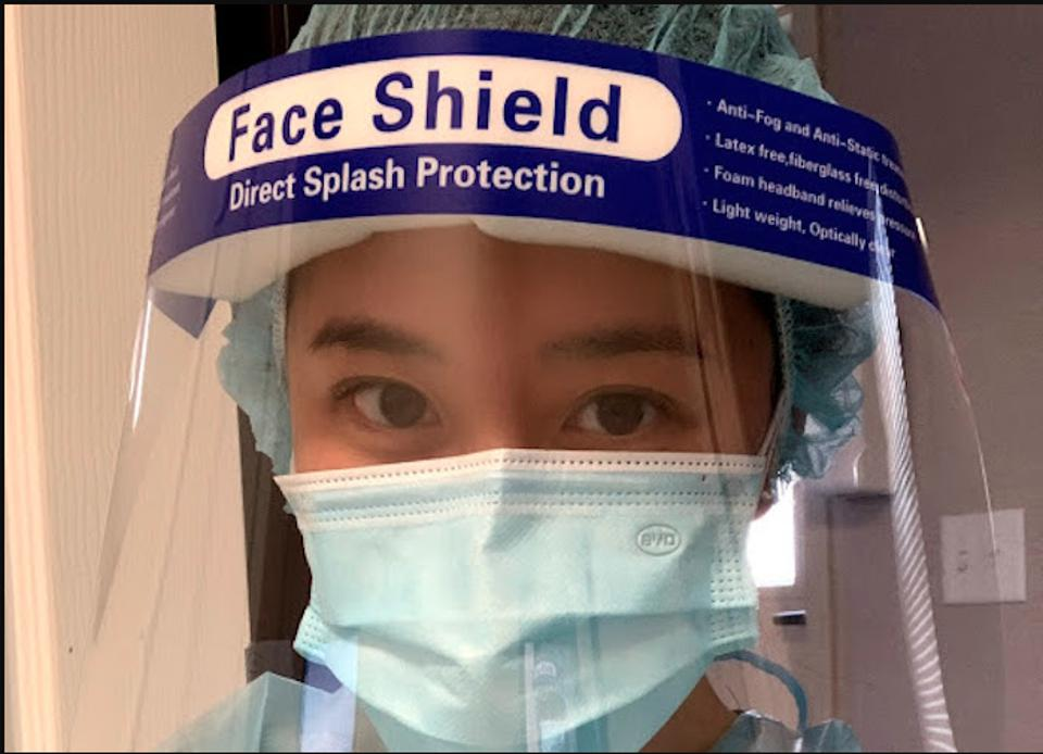 Salt Lake City vaccine researcher and UNICEF UNITER Janice Ly wearing a mask and face shield.