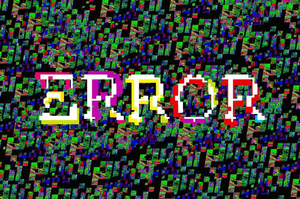Digital corruption on screen, Glitch Error or Colorful digital pixel noise.