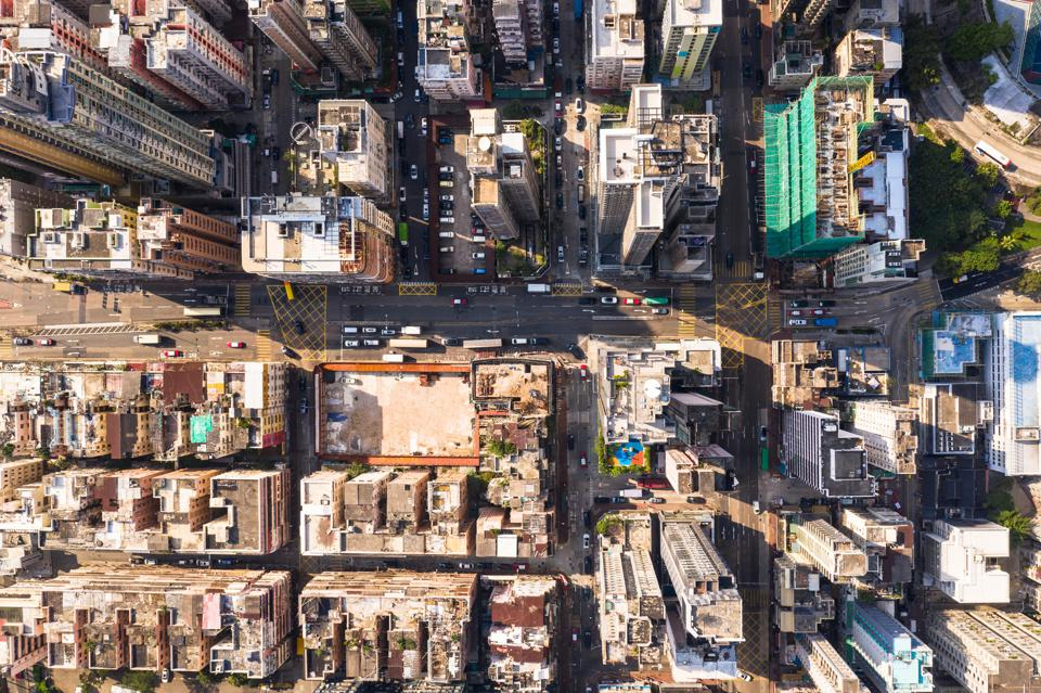 Top down view of the very crowded Kowloon city  residential district in Hong Kong