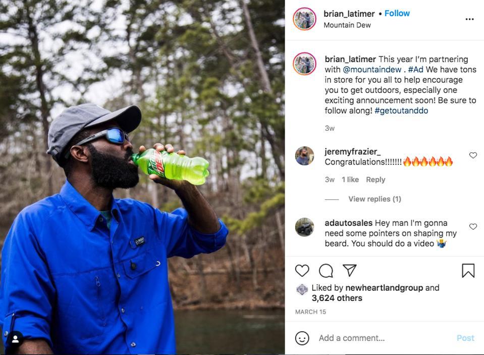 Pro angler, Brian Latimer enjoying his favorite Mtn Dew.