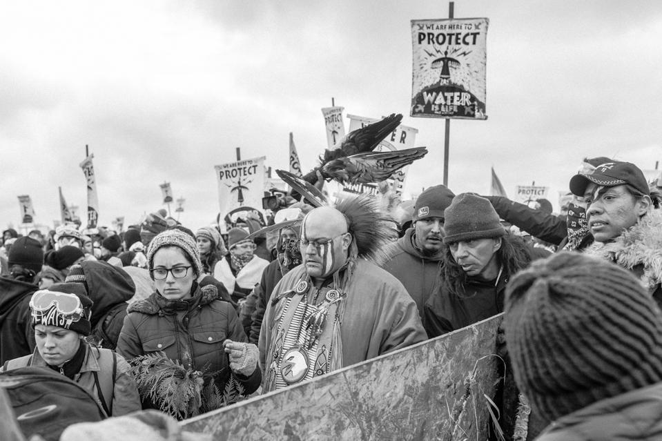 Black-and-white image of a crowd of protestors.