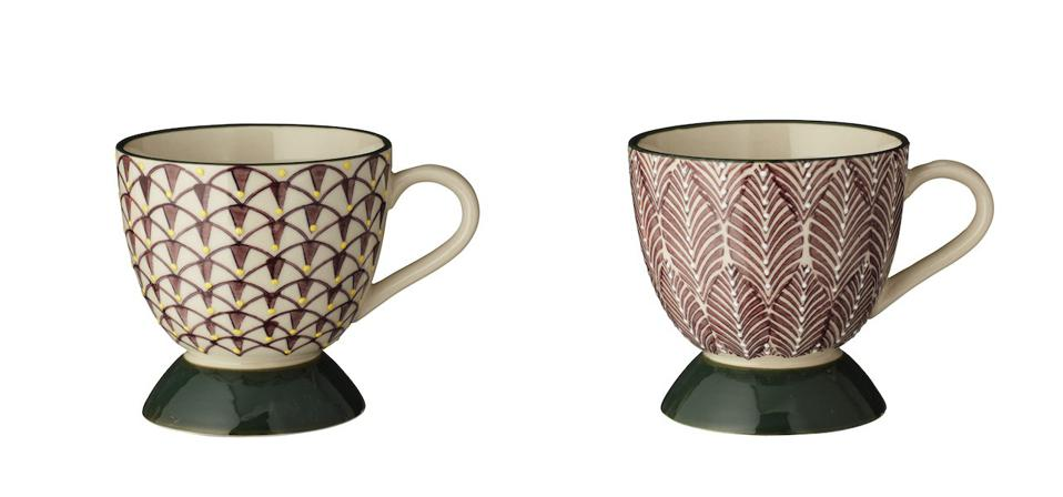 Patterned mugs on a white background