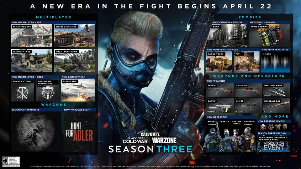 Black Ops Cold War and Warzone Season 3 roadmap graphic