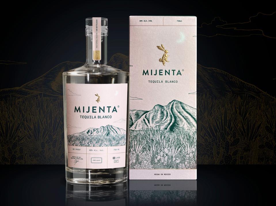 Bottle of Mijenta Tequila and Mijenta box.