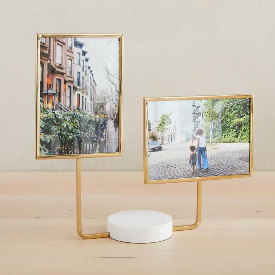 Aaron Probyn Marble Tabletop Frames, Double Frame, White, Antique Brass, 5x7