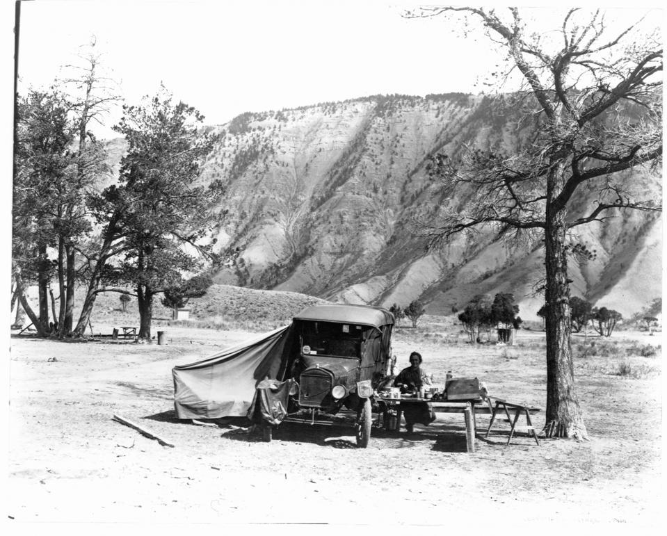 Camper at Mammoth Hot Springs