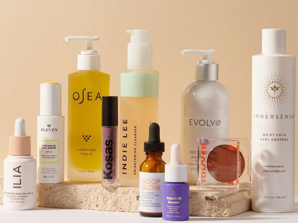 Earth day sales: clean beauty products on counter