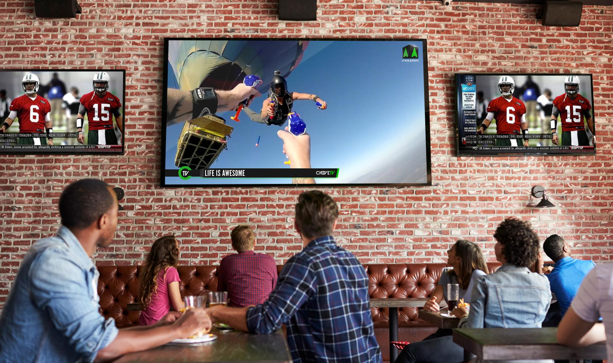 Atmosphere's TVs are now in 13,000 venues including bars and restaurants.