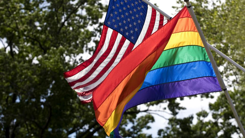 LGBT and American Flags together