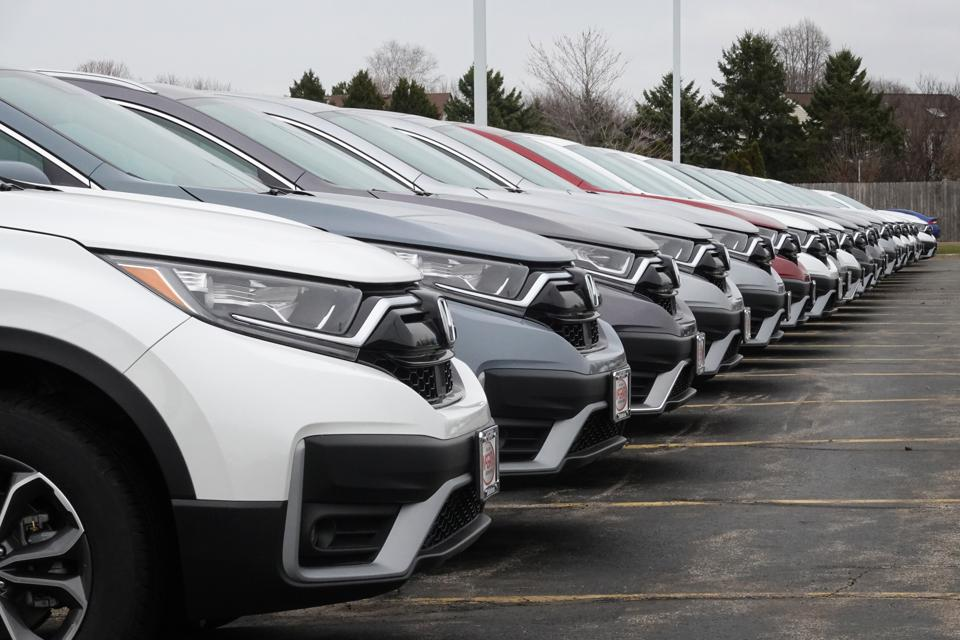 Outdoor lot at a U.S. auto dealership