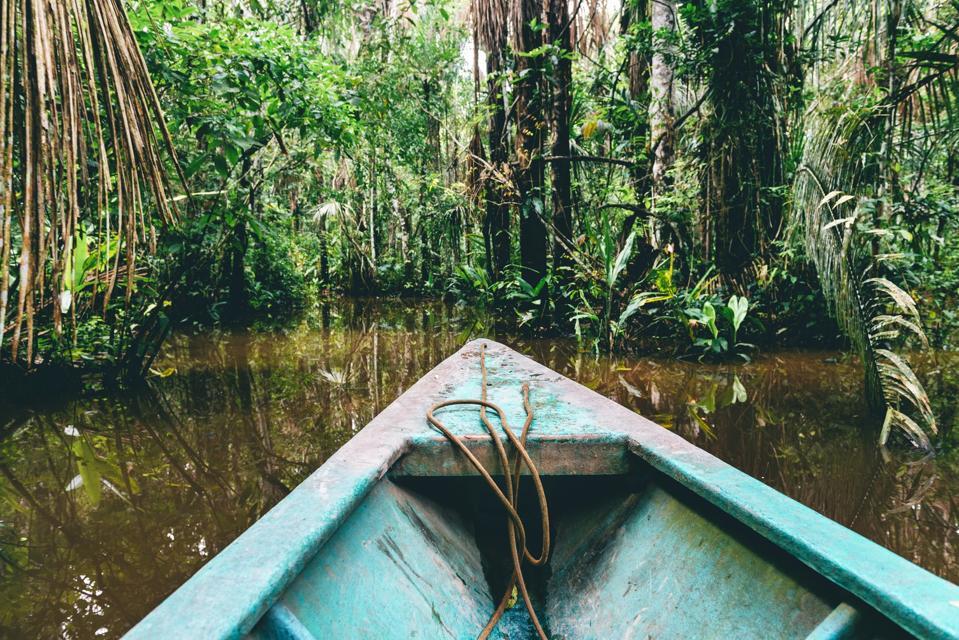 Peru, Tambopata, Boat on Amazon river